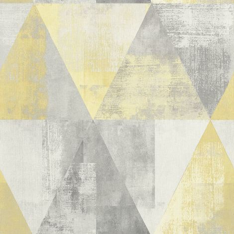 Triangle Geometric Vintage Yellow Wallpaper Non Woven Textured Vinyl Rasch