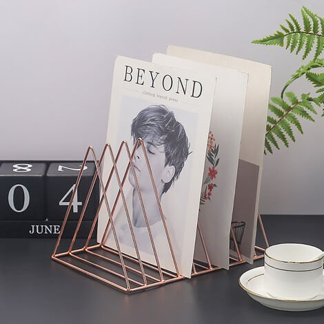 Triangle Iron Wire Magazine Holder Rack Newspaper Letters Stand Table Top Organiser