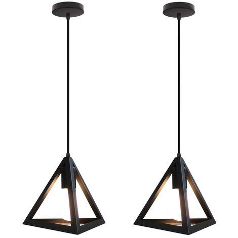 Triangle Pendant Light Classic Black Antique Pendant Lamp Retro Metal Chandelier for Bar Loft Bedroom(2x)