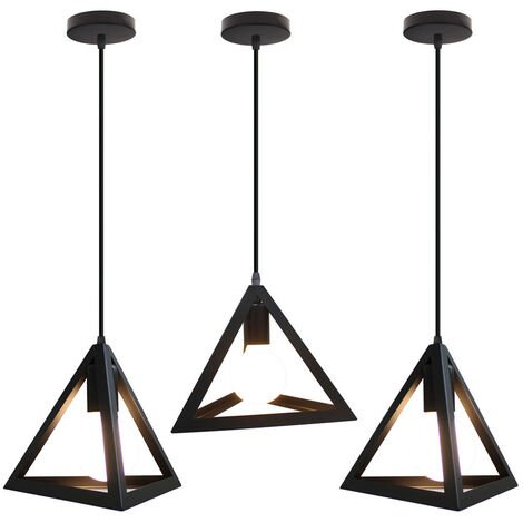 Triangle Pendant Light Classic Black Antique Pendant Lamp Retro Metal Chandelier for Bar Loft Bedroom(3x)