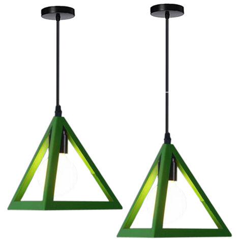 Triangle Pendant Light Classic Green Antique Pendant Lamp Retro Metal Chandelier for Bar Loft Bedroom(2x)