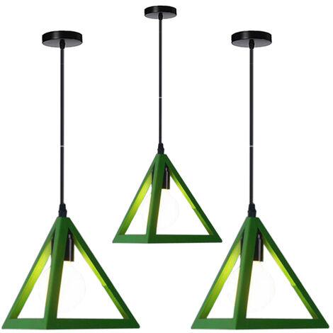 Triangle Pendant Light Classic Green Antique Pendant Lamp Retro Metal Chandelier for Bar Loft Bedroom(3x)