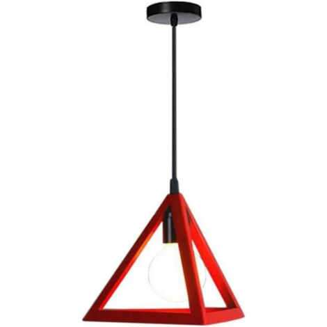 Triangle Pendant Light Classic Red Antique Pendant Lamp Retro Metal Chandelier for Bar Loft Bedroom