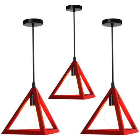 Triangle Pendant Light Classic Red Antique Pendant Lamp Retro Metal Chandelier for Bar Loft Bedroom(3x)