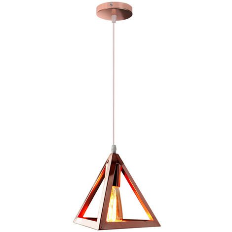 Triangle Pendant Light Classic Rose Gold Antique Pendant Lamp Retro Metal Chandelier for Bar Loft Bedroom