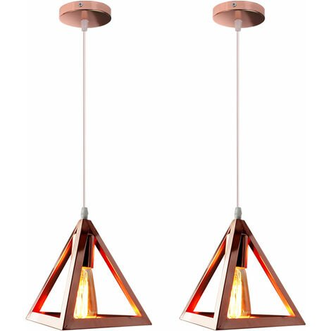Triangle Pendant Light Classic Rose Gold Antique Pendant Lamp Retro Metal Chandelier for Bar Loft Bedroom(2x)