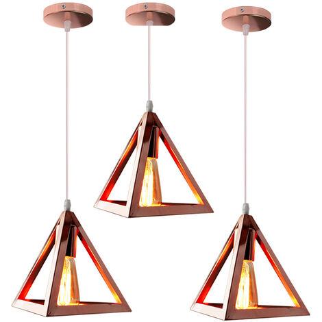 Triangle Pendant Light Classic Rose Gold Antique Pendant Lamp Retro Metal Chandelier for Bar Loft Bedroom(3x)
