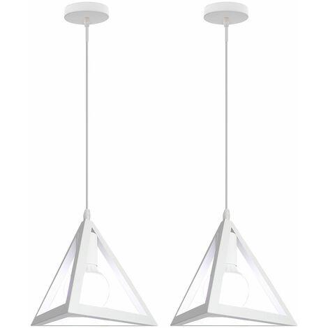 Triangle Pendant Light Classic White Antique Pendant Lamp Retro Metal Chandelier for Bar Loft Bedroom(2x)