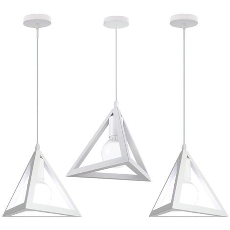 Triangle Pendant Light Classic White Antique Pendant Lamp Retro Metal Chandelier for Bar Loft Bedroom(3x)