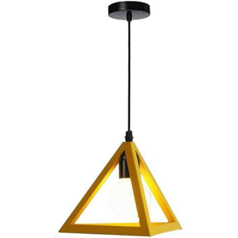 Triangle Pendant Light Classic Yellow Antique Pendant Lamp Retro Metal Chandelier for Bar Loft Bedroom
