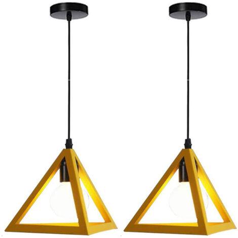 Triangle Pendant Light Classic Yellow Antique Pendant Lamp Retro Metal Chandelier for Bar Loft Bedroom(2x)