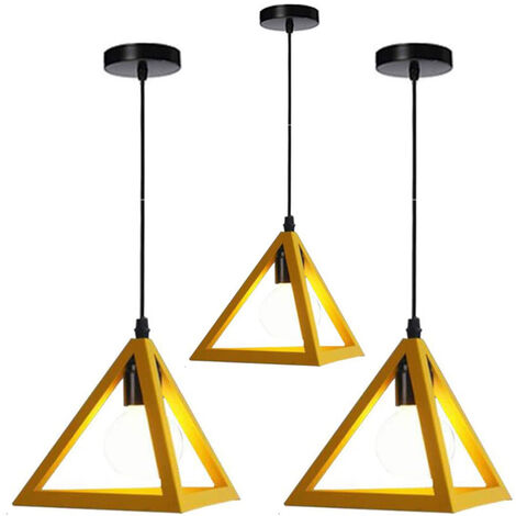 Triangle Pendant Light Classic Yellow Antique Pendant Lamp Retro Metal Chandelier for Bar Loft Bedroom(3x)