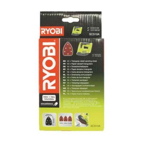 triangular sanding sheet 100x140mm Grain Ryobi 60, 80 and 120 x 10 SCS10A