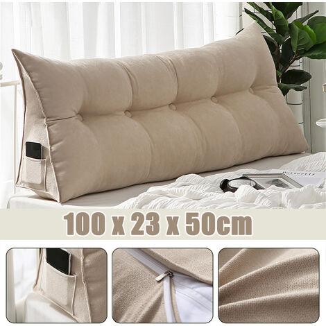 "main image of ""Triangular Wedge Lumbar Pillow Support Cushion Backrest Bolster Soft Headboard beige"""