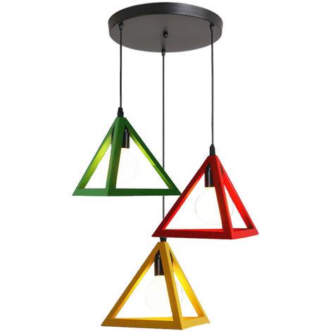 Triángulo Jaula Colorida Lámpara 3 Luces Vintage luz Colgante Colgante Industrial Creativo 3 Colores Araña para Cocina Granja Pasillo Interior Rojo + Amarillo + Verde