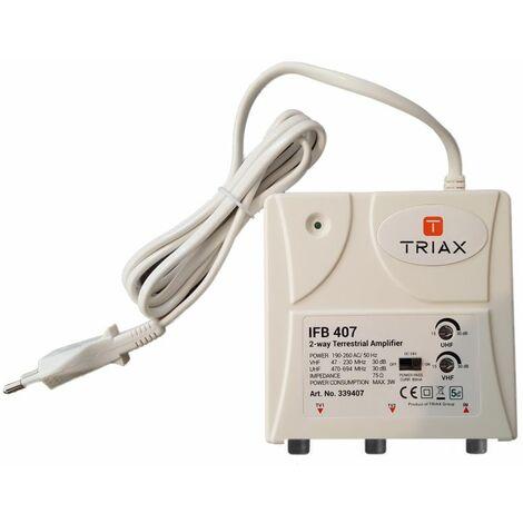 TRIAX IFB 407 Amplificateur d'appartement 2 sorties tv antenne rateau terrestre 5G - Blanc