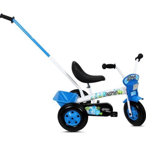Tricycle enfant avec barre à pousser   Blanc et Bleu - Blanc et Bleu