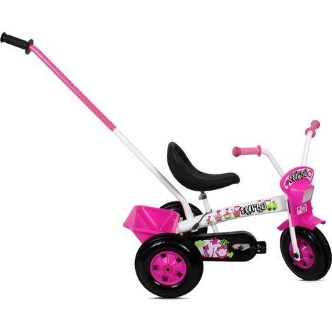 Tricycle enfant avec barre à pousser   Blanc et Rose - Blanc et Rose