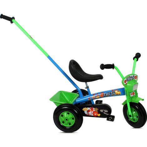 Tricycle enfant avec barre à pousser   Bleu et Vert - Bleu et Vert