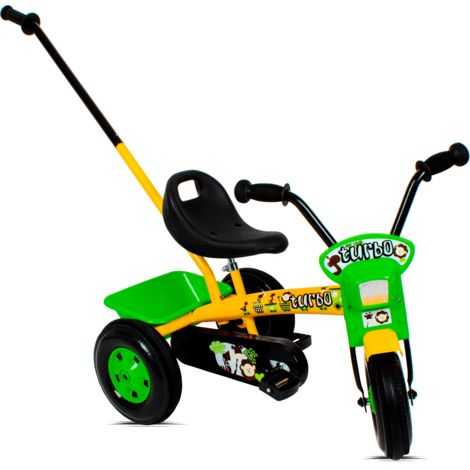 Tricycle enfant avec barre à pousser   Jaune et Vert - Jaune et Vert