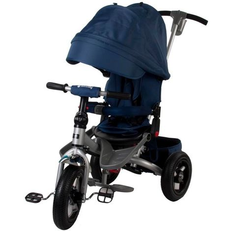 Tricycle évolutif bébé enfant 1-4 ans avec roues gonlables canne parentale et panier de rangement   Bleu - Bleu