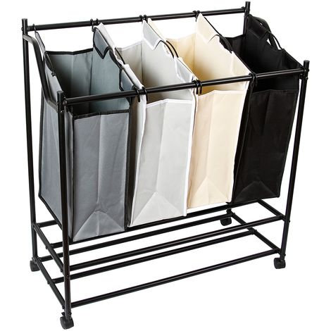 Trieuse à linge 4 compartiments Panier à linge Collecteur de linge Boîte à linge Sac à linge coloré