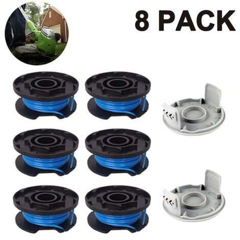 """main image of """"Trimmer Replacement Spool Line Include 2 Trimmer Cap Compatible Ryobi One+ AC14RL3A 18V, 24V,40V Cordless Trimmers, 6+2PACK"""""""