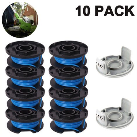 Trimmer Replacement Spool Line Include 2 Trimmer Cap Compatible Ryobi One+ AC14RL3A 18V, 24V,40V Cordless Trimmers, 8+2PACK