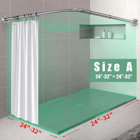 Tringle à rideau de douche incurvée réglable en acier inoxydable Barres de salle de bain à la maison Barre de rail 【Seule tige】 (Taille A)