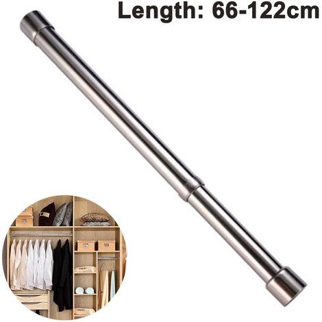 Tringle à vêtements coulissante placard tringle à vêtements en acier inoxydable, tube de penderie pour armoire, douche, balcon ------ 66-122 cm