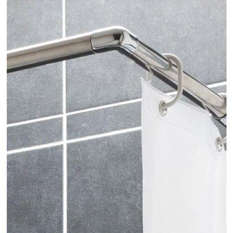 Tringle dia. 25mm pour rideau de douche dangle ajustable 80/140 cm inox