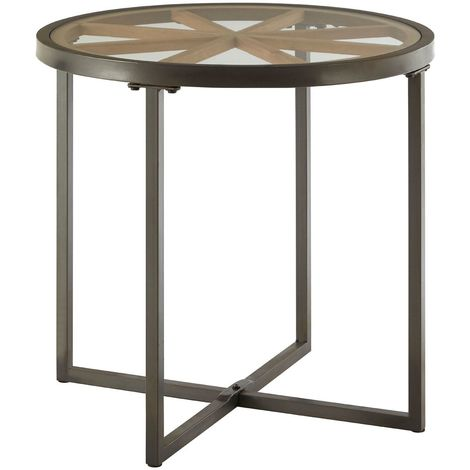 Trinity Round Side Table, Iron / Fir Wood, Tempered Glass