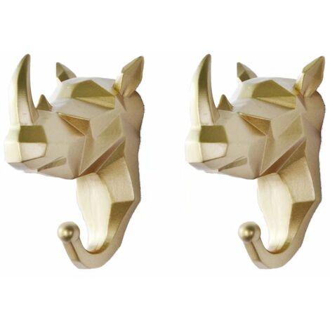 TRIOMPHE 2 pièces de crochets pour animaux crochets de manteau tête de cerf perforés crochets muraux derrière la porte clé support mural porte-manteau animal clé (Golden Rhino