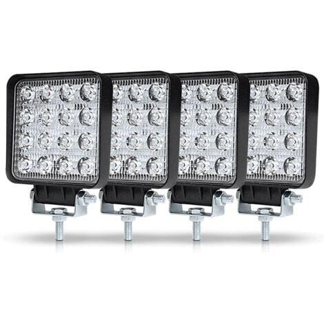 TRIOMPHE 4Pcs Phare de Travail LED 3Pouces 48W LED Phare Travail Projecteur Feux Antibrouillard pour Voiture Camion UTV SUV Offroad Tracteur Bateau