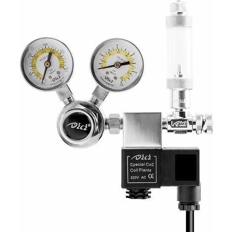 Triomphe Aquarium CO2 Contrôleur de CO2, réducteur de pression d'aquarium, pression de sortie stable de 4 à 6 bars, y compris le compteur de bulles et la vanne anti-retour, l'interface W21.8