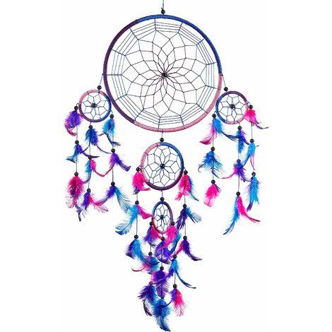 TRIOMPHE ATTRAPEUR DE RÊVES, Grand Attrape rêve Bleu Roi, Rose, Violet Dreamcatcher à Perles & à Plumes Fait Main - Capteur de Rêves Multicolore, Artisanal
