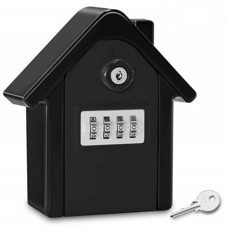 TRIOMPHE Boite a Cle Securisee Mural Boite a Clé avec Code Numérique & Clés d'urgence, Grand Key Safe Box Format Coffre a Clef Extérieur pour Maison, Bureau, Usine, Garages (Noir Complet)