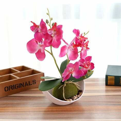 TRIOMPHE Bricolage simulation fleur bonsaï phalaenopsis (y compris pot) ornements créatifs simulation plante en pot simulation fleur, rose rouge