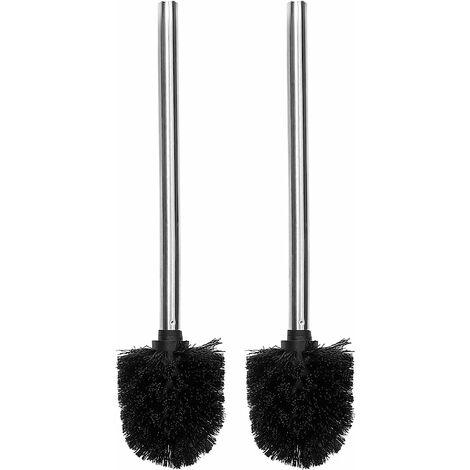 Triomphe Brosse WC / WC / salle de bain de rechange, tête de brosse de nettoyage avec manche en acier inoxydable, lot de 2 pièces, noir