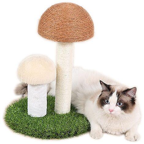 TRIOMPHE Cadre d'escalade pour chat à travers la colonne du ciel Champignon en lin naturel Simulation de colonne à gratter Pelouse Grande planche à gratter pour jouet de chat résistant à l'usure (grosse tête en lin jaune + tête de champignon blanc