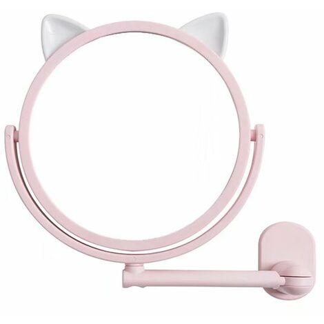 TRIOMPHE Dessin animé sans couture autocollant miroir mur d'aspiration poinçonnage gratuit maquillage miroir salle de bain miroir rond miroir télescopique, rose