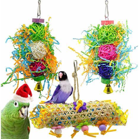 """main image of """"TRIOMPHE Ensemble de 3 pièces de jouet de perroquet, fournitures pour oiseaux, jouet de morsure de perroquet, jouet d'oiseau"""""""