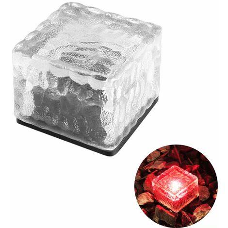 TRIOMPHE Lampe à carreaux carrés en cristal Extérieur étanche LED solaire rouge imitation cristal carreaux de sol lumières jardin prise de terre lumières couloir jardin pelouse lumières pelouse enterré lumières décoratives paysage lumières