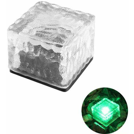 TRIOMPHE Lampe à carreaux carrés en cristal Extérieur étanche LED solaire vert imitation cristal carreaux de sol lumières jardin prise de terre lumières couloir jardin pelouse lumières pelouse enterré lumières décoratives paysage lumières