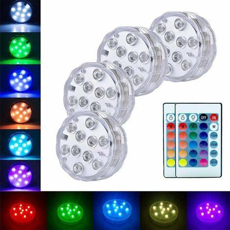 Triomphe LED Télécommande Divison de plongée Lumière de bain de bain de poisson, éclairage de la piscine 4 éclairage + 2 télécommande