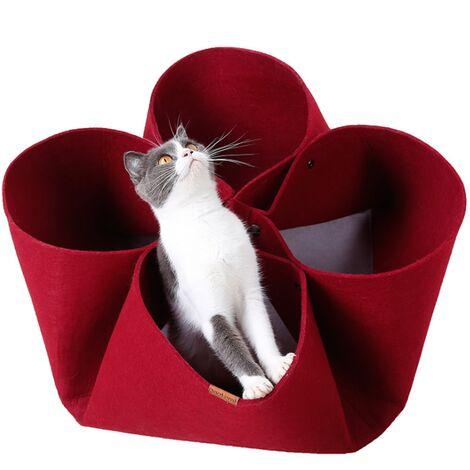 TRIOMPHE Litière pour animaux de compagnie Litière pour chat de fleur de pétale Design original Tapis pour lit de chat quatre saisons, tunnel de chat à fonction variable, rouge
