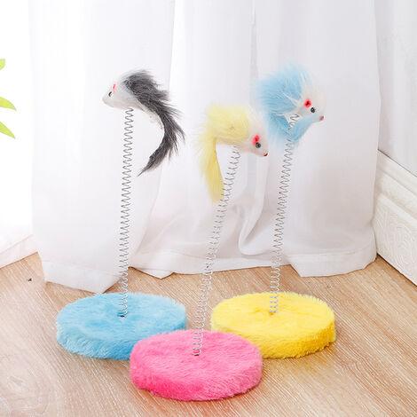 Triomphe Mini jouet interactif pour chat en plumes piège à chat élastique, jouet interactif à gratter pour chat, lot de 3