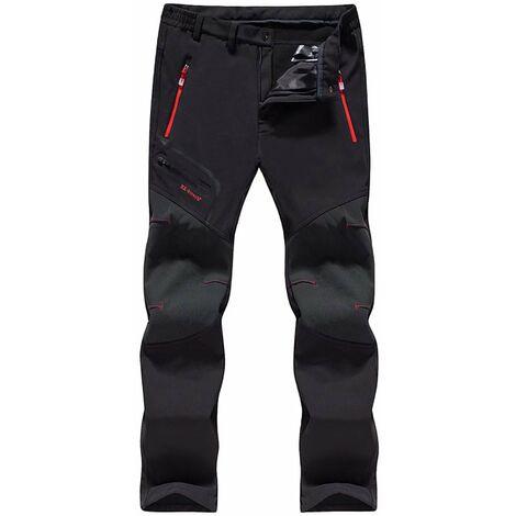 TRIOMPHE Pantalon de ski à coque souple imperméable et pantalon en cachemire à séchage rapide (homme noir épais 5XL