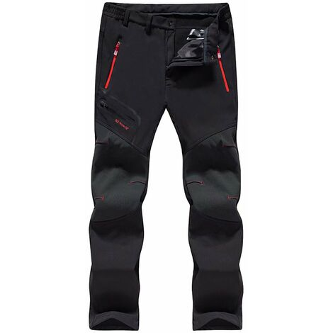 TRIOMPHE Pantalon de ski imperméable à coque souple et pantalon en cachemire à séchage rapide (mâle noir épais 7XL