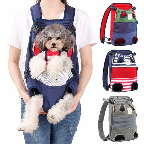 TRIOMPHE Pet Net Infrared Out Backpack Sac à dos pour animaux de compagnie Sac à dos pour chat Sac de voyage Poitrine Sac à dos Sac de transport Rouge Bleu 40 * 25 cm